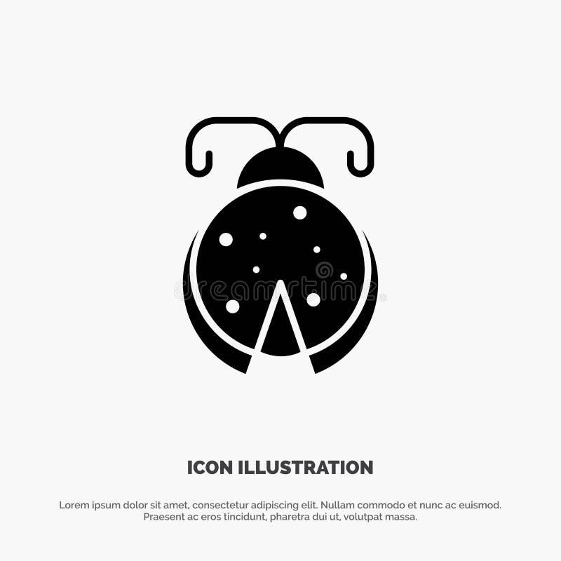 Κάνθαρος, ζωύφιο, λαμπρίτσα, στερεό Glyph διάνυσμα εικονιδίων Ladybug απεικόνιση αποθεμάτων