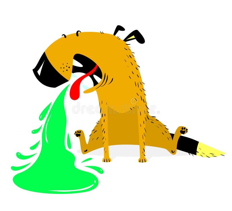 Κάνοντας εμετό σκυλί άρρωστοι σκυλιών Η Pet pukes με πράσινο κάνει εμετό απεικόνιση αποθεμάτων