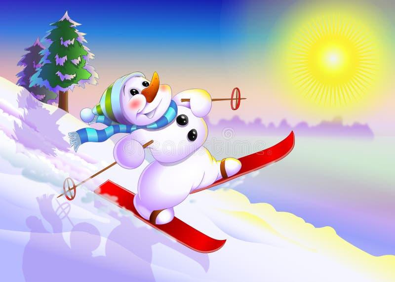 Κάνοντας σκι χιονάνθρωπος διανυσματική απεικόνιση