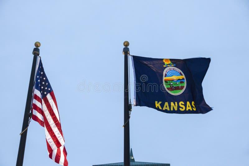 Κάνσας και ΗΠΑ flagsc στοκ φωτογραφία με δικαίωμα ελεύθερης χρήσης