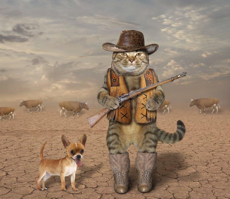 Κάουμποϋ γατών με το σκυλί 1 στοκ εικόνα με δικαίωμα ελεύθερης χρήσης