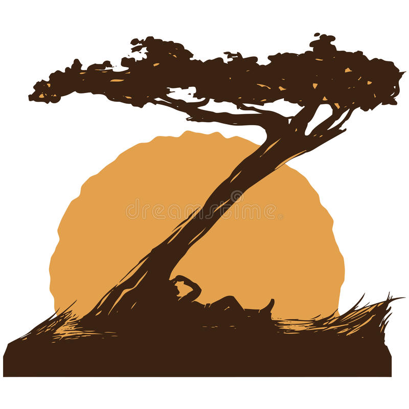 Κάουμποϋ κάτω από το δέντρο στοκ φωτογραφία με δικαίωμα ελεύθερης χρήσης