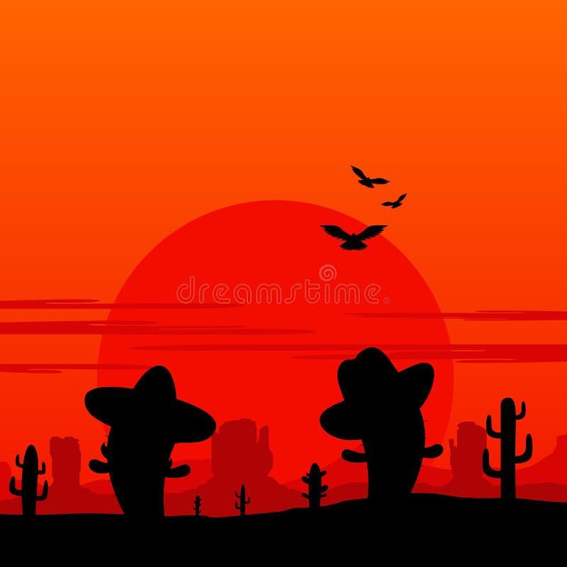 Κάουμποϋ και μεξικάνικη σκιαγραφία τοπίων κάκτων διανυσματική απεικόνιση