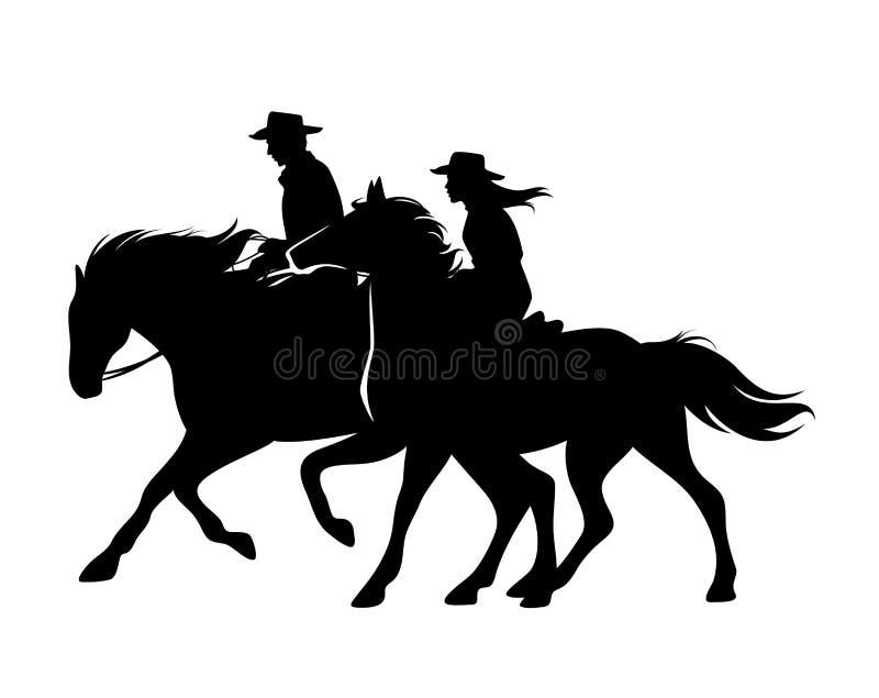 Κάουμποϋ και cowgirl οδηγώντας μαύρη διανυσματική σκιαγραφία αλόγων ελεύθερη απεικόνιση δικαιώματος