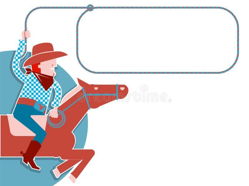 Κάουμποϋ με το λάσο στο άλογο. ελεύθερη απεικόνιση δικαιώματος
