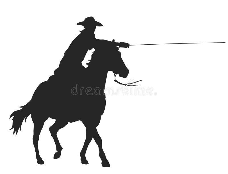 Κάουμποϋ με το λάσο που οδηγά ένα άλογο ελεύθερη απεικόνιση δικαιώματος