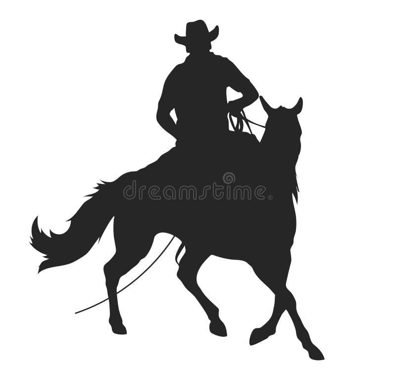Κάουμποϋ με το λάσο που οδηγά ένα άλογο διανυσματική απεικόνιση