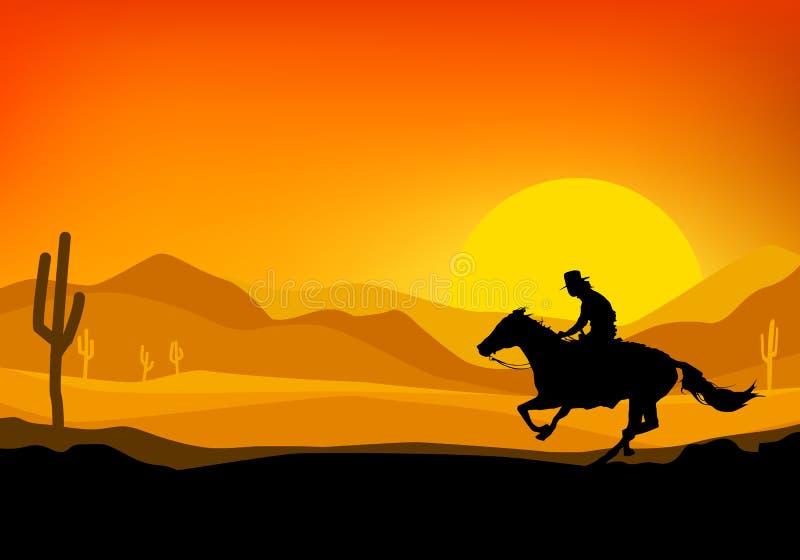 Κάουμποϋ που οδηγά ένα άλογο. διανυσματική απεικόνιση