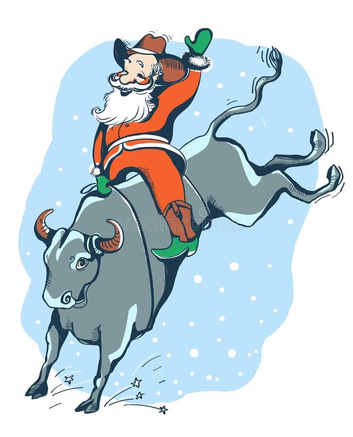 Κάουμποϋ Santa στο ροντέο Δυτικό χρώμα οδήγησης ταύρων ροντέο illust ελεύθερη απεικόνιση δικαιώματος
