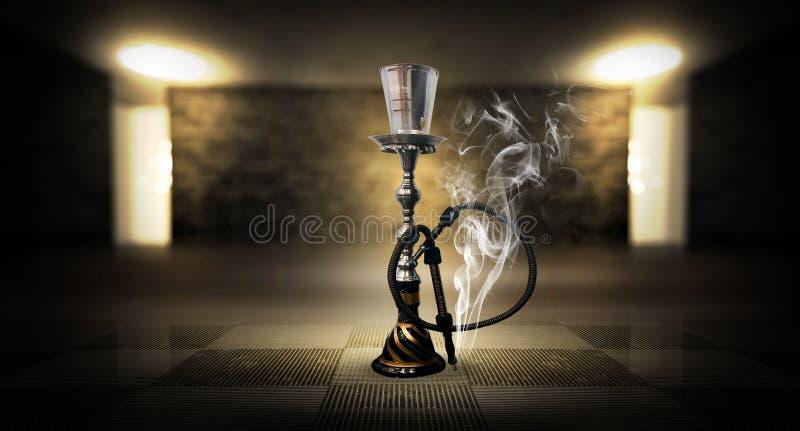 Κάπνισμα ενός hookah ενάντια σε έναν τουβλότοιχο, τσιμεντένιο πάτωμα, φως νέου, καπνός στοκ εικόνα
