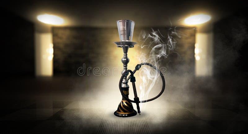Κάπνισμα ενός hookah ενάντια σε έναν τουβλότοιχο, τσιμεντένιο πάτωμα, φως νέου, καπνός στοκ εικόνα με δικαίωμα ελεύθερης χρήσης