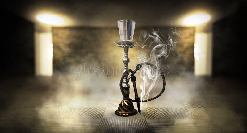 Κάπνισμα ενός hookah ενάντια σε έναν τουβλότοιχο, τσιμεντένιο πάτωμα, φως νέου, καπνός στοκ φωτογραφία με δικαίωμα ελεύθερης χρήσης