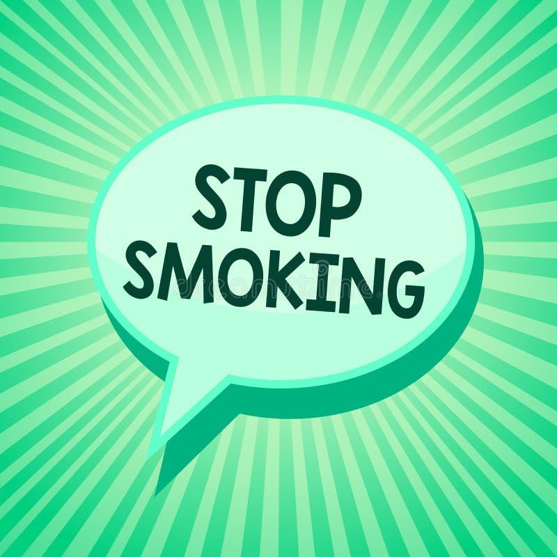 Κάπνισμα στάσεων κειμένων γραφής Έννοια που σημαίνει να διακόψει ή που σταματά τη χρήση του πράσινου μηνύματος λεκτικών φυσαλίδων απεικόνιση αποθεμάτων