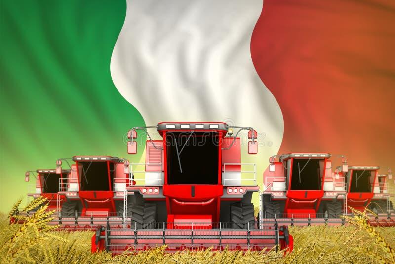 Κάποιο κόκκινο που καλλιεργεί συνδυάζει τις θεριστικές μηχανές στον τομέα σίτου με το υπόβαθρο σημαιών της Ιταλίας - μπροστινή άπ διανυσματική απεικόνιση