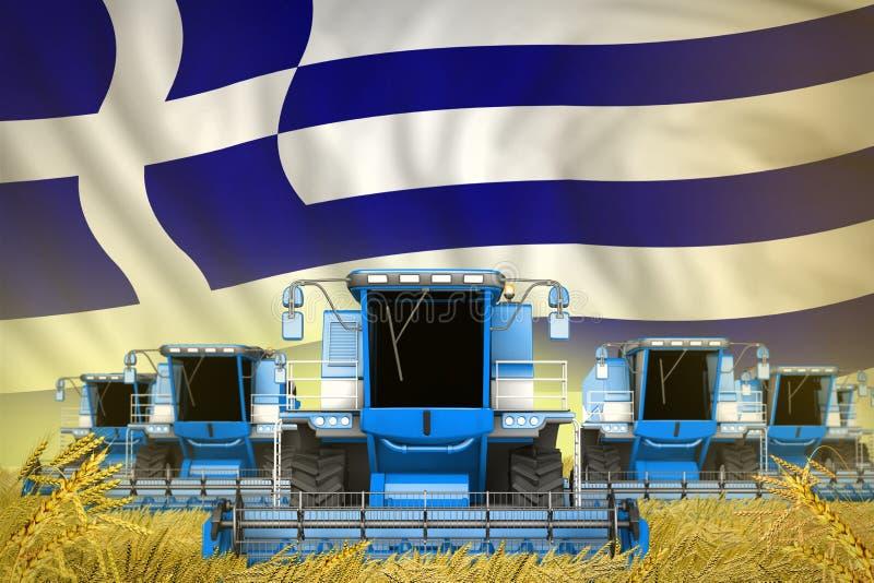 Κάποιο μπλε που καλλιεργεί συνδυάζει τις θεριστικές μηχανές στον τομέα σίκαλης με το υπόβαθρο σημαιών της Ελλάδας - μπροστινή άπο διανυσματική απεικόνιση