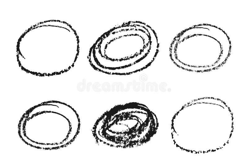 Κάρβουνο, αντικείμενα σχεδίασης κύκλου τραχύς Είναι εύκολο να αλλάξετε χρώμα Στοιχεία απομονωμένα σε ανοιχτό φόντο ελεύθερη απεικόνιση δικαιώματος