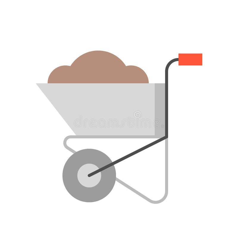 Κάρρο ή wheelbarrow τσιμέντου με το χώμα απεικόνιση αποθεμάτων