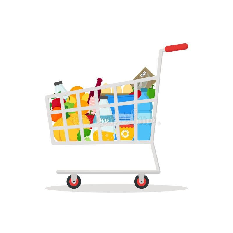 Κάρρο αγορών με τα προϊόντα διάνυσμα ελεύθερη απεικόνιση δικαιώματος