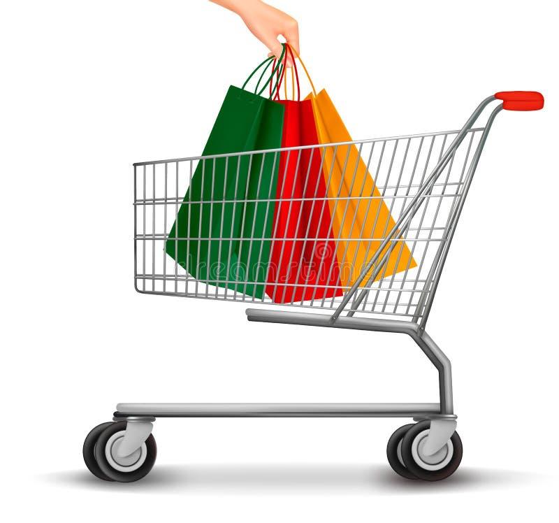Κάρρο αγορών με τις ζωηρόχρωμες τσάντες αγορών οι μαύροι αριθμοί έκπτωσης έννοιας σεντ ανασκόπησης αντιμετωπίζουν γκρίζο ανά σημά ελεύθερη απεικόνιση δικαιώματος