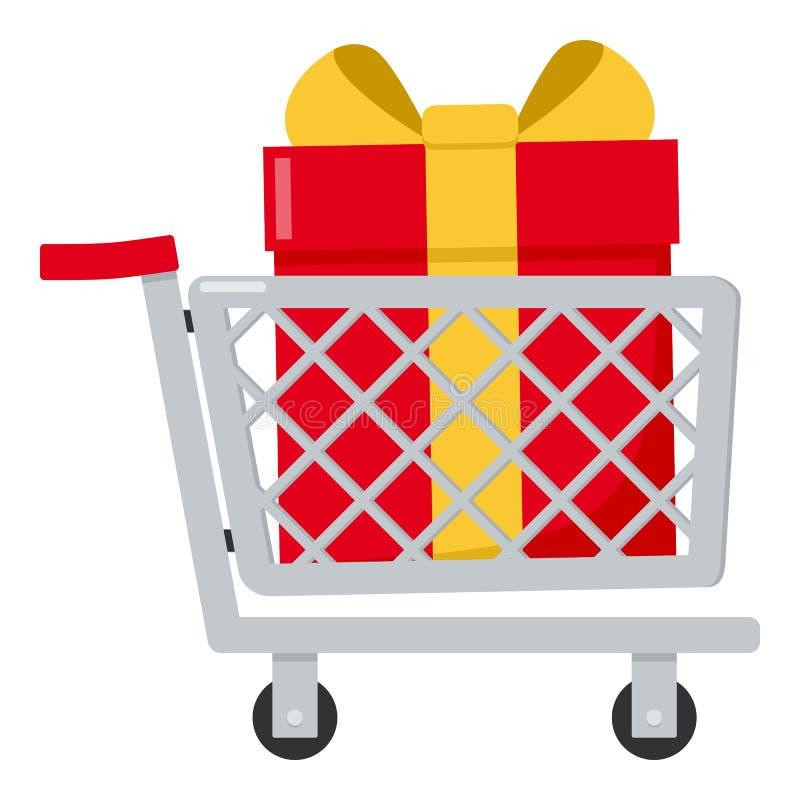 Κάρρο αγορών με το κόκκινο επίπεδο εικονίδιο δώρων ελεύθερη απεικόνιση δικαιώματος