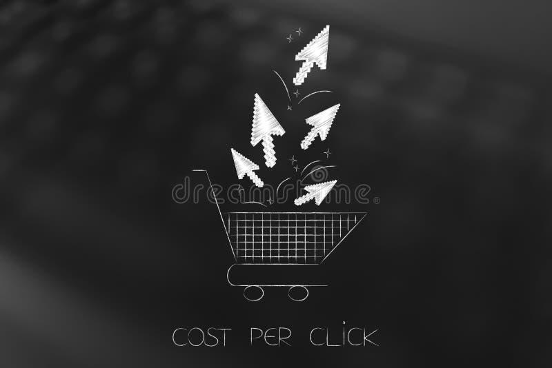 Κάρρο αγορών με το κόστος ανά βέλη ποντικιών κρότου απεικόνιση αποθεμάτων