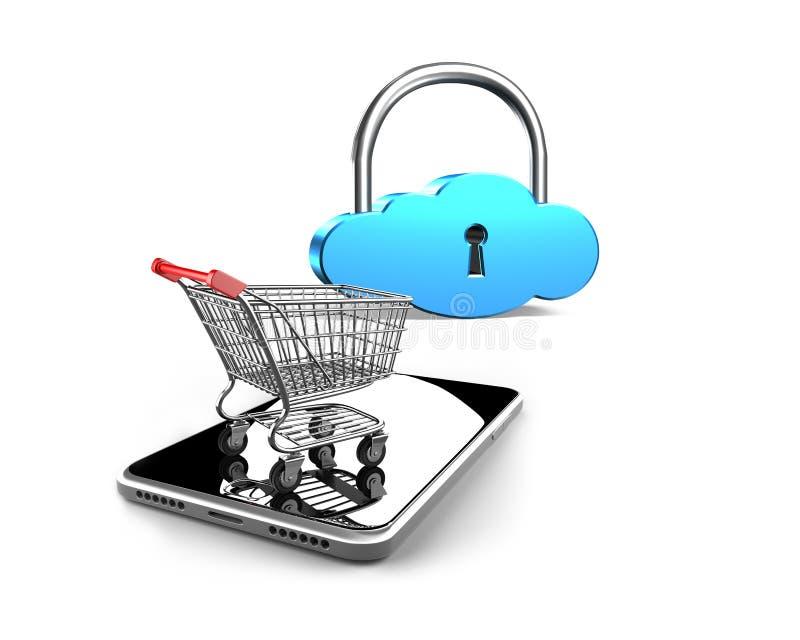 Κάρρο αγορών στο smartphone με την κλειδαριά σύννεφων, τρισδιάστατη απόδοση στοκ εικόνες
