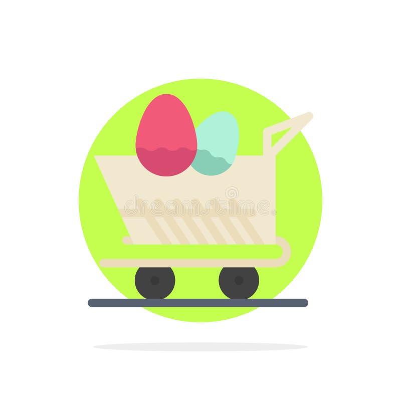 Κάρρο, καροτσάκι, Πάσχα, αγορών αφηρημένο κύκλων εικονίδιο χρώματος υποβάθρου επίπεδο διανυσματική απεικόνιση