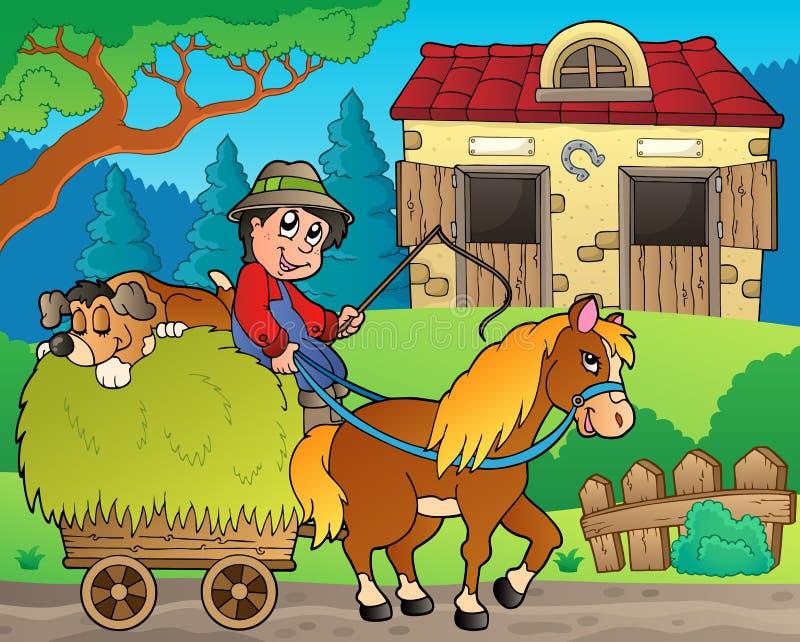 Κάρρο σανού με τον αγρότη κοντά στο σταύλο διανυσματική απεικόνιση
