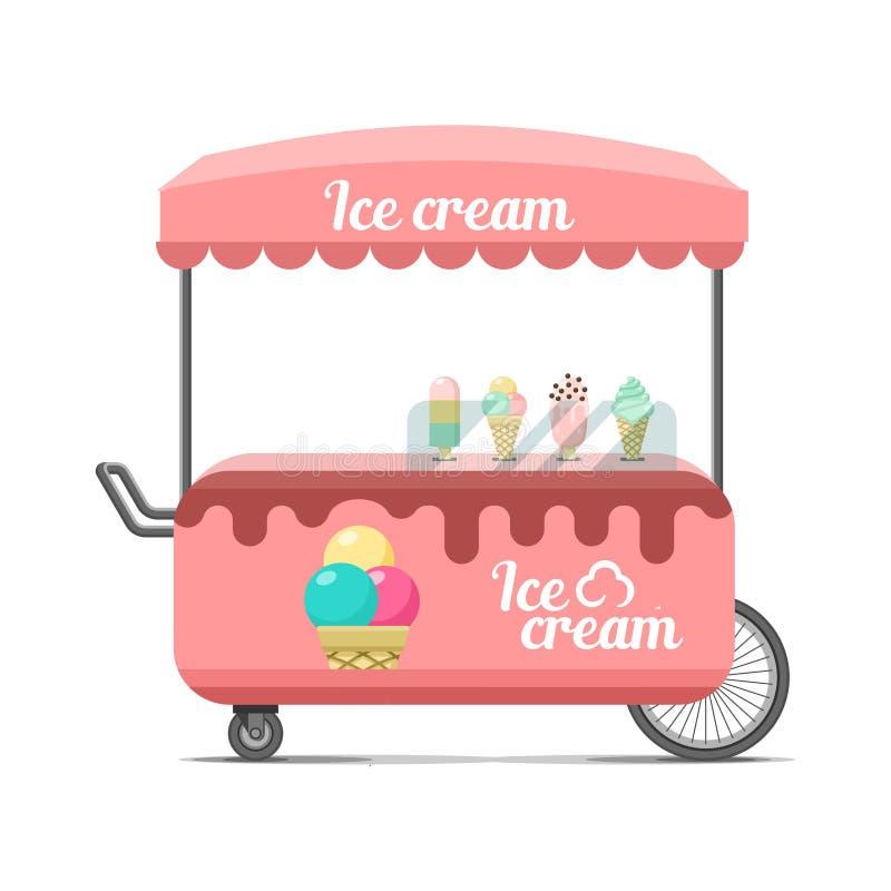 Κάρρο τροφίμων οδών παγωτού Ζωηρόχρωμη διανυσματική εικόνα απεικόνιση αποθεμάτων