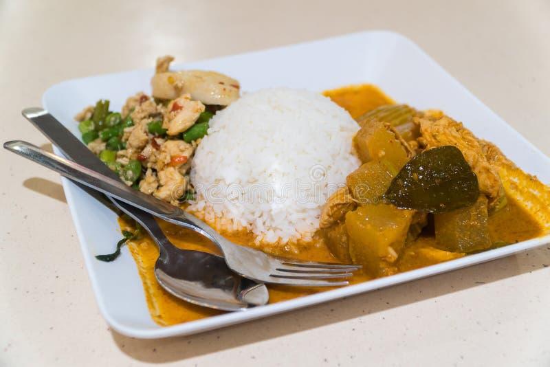 Κάρρυ και ρύζι κοτόπουλου σε ένα άσπρο πιάτο στοκ εικόνες