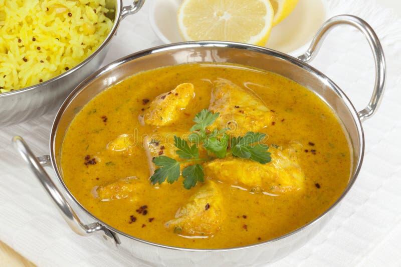 Κάρρυ κοτόπουλου με Basmati το ρύζι στοκ φωτογραφία