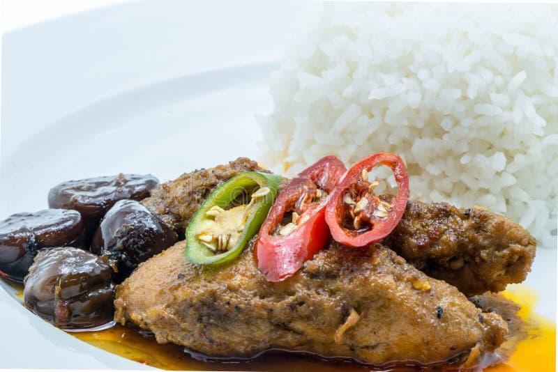 Κάρρυ κοτόπουλου με το γάλα καρύδων και το σαφές ρύζι στοκ εικόνες με δικαίωμα ελεύθερης χρήσης