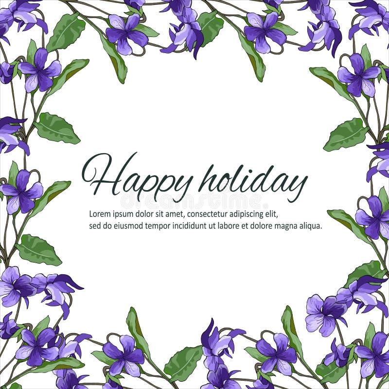 Κάρτα άνοιξη με τα ιώδη λουλούδια Πλαίσιο κειμένων με τις βιολέτες για τα συγχαρητήρια και τις προσκλήσεις διανυσματική απεικόνιση