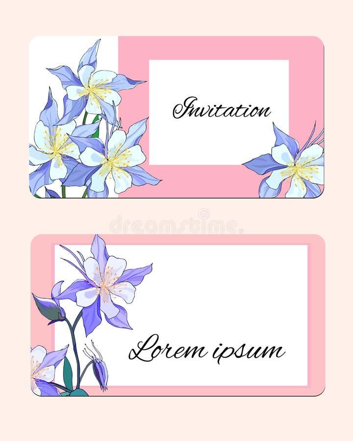 Κάρτα άνοιξη με τα λεπτά λουλούδια Διανυσματική απεικόνιση των ρόδινων και άσπρων λουλουδιών διανυσματική απεικόνιση