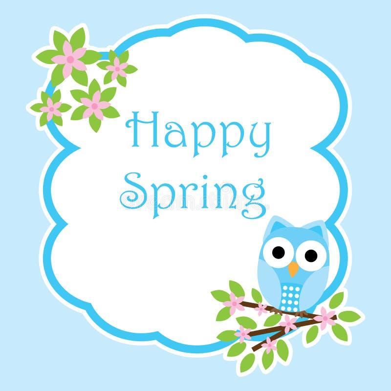 Κάρτα άνοιξη με τη χαριτωμένη κουκουβάγια στο πλαίσιο κλάδων λουλουδιών διανυσματική απεικόνιση