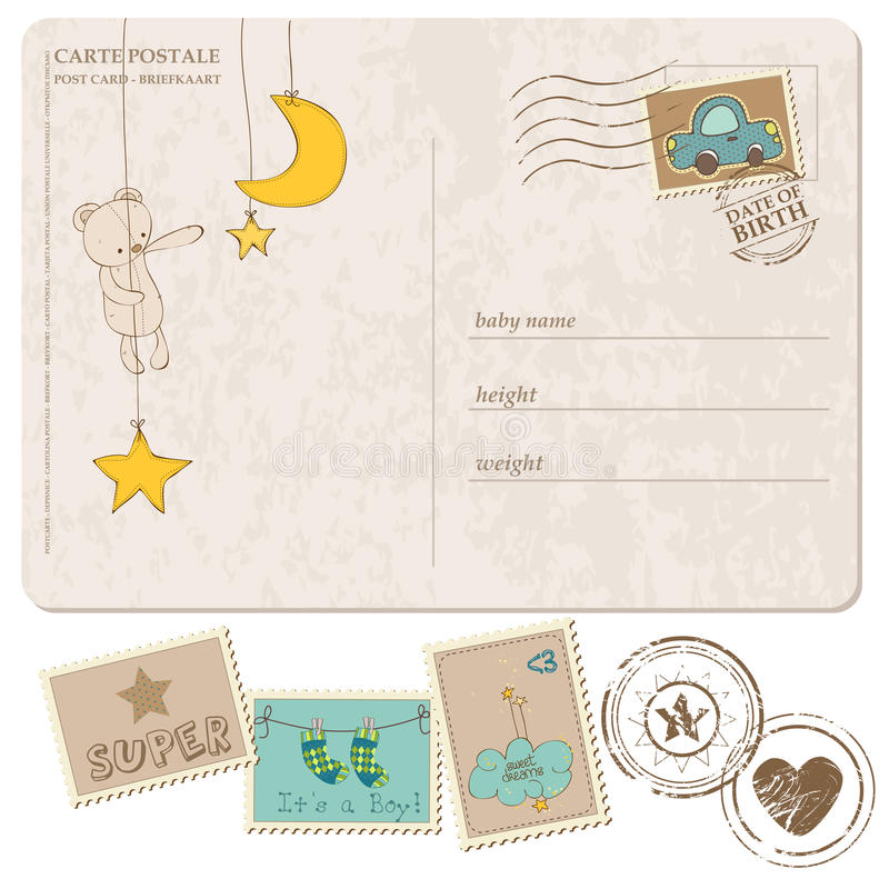 Κάρτα άφιξης αγορακιών με το σύνολο γραμματοσήμων ελεύθερη απεικόνιση δικαιώματος