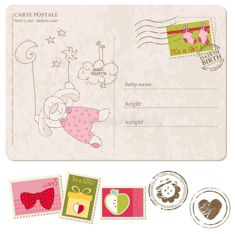 Κάρτα άφιξης αγορακιών με το σύνολο γραμματοσήμων απεικόνιση αποθεμάτων