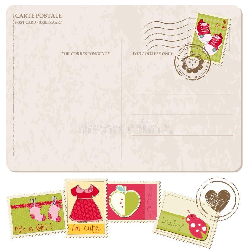 Κάρτα άφιξης κοριτσακιών με το σύνολο γραμματοσήμων διανυσματική απεικόνιση