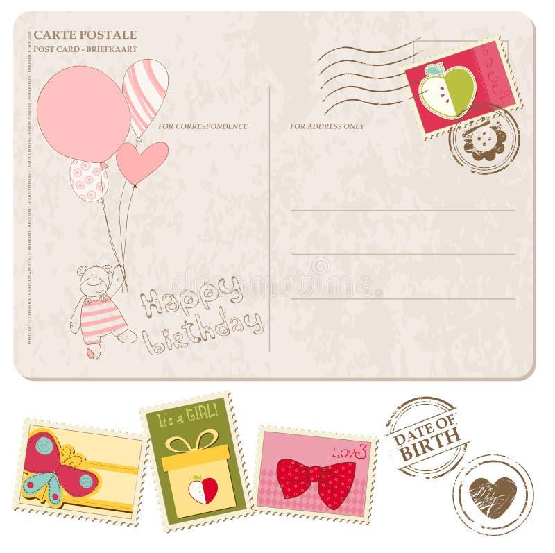 Κάρτα άφιξης κοριτσακιών με το σύνολο γραμματοσήμων απεικόνιση αποθεμάτων