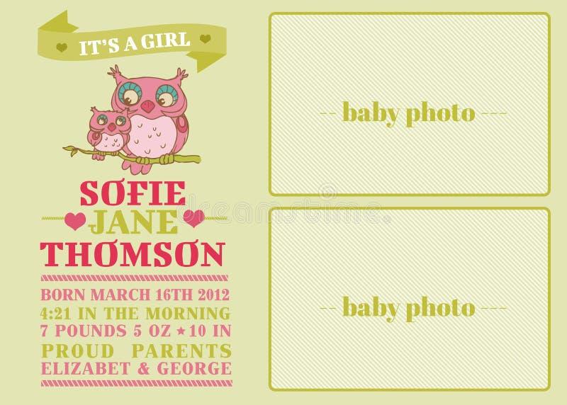 Κάρτα άφιξης μωρών διανυσματική απεικόνιση