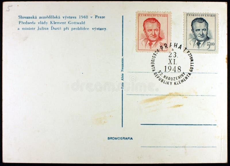 Κάρτα, έκθεση Πράγα, 1948 στοκ εικόνα