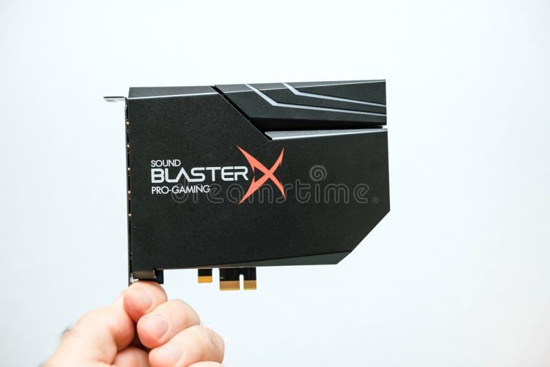 Κάρτα ήχου για παιχνίδια υψηλής ανάλυσης PCIe Creative Sound Blaster στοκ εικόνες
