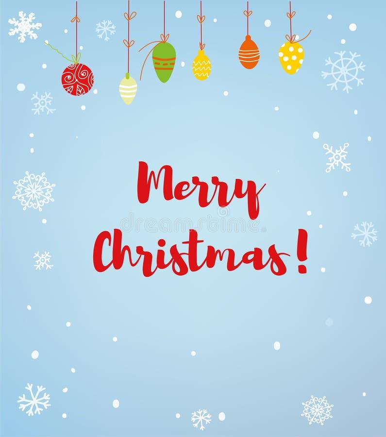 Κάρτα ή υπόβαθρο Χαρούμενα Χριστούγεννας με το χιόνι και τις σφαίρες, αναδρομικό ύφος επίσης corel σύρετε το διάνυσμα απεικόνισης ελεύθερη απεικόνιση δικαιώματος