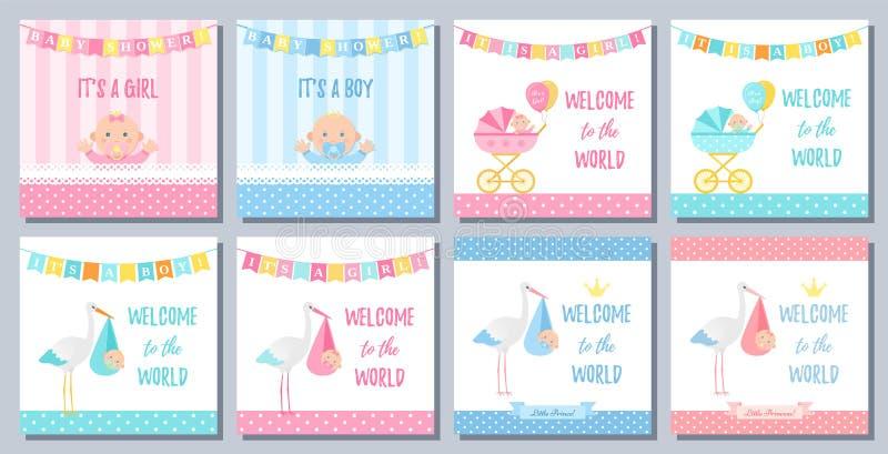 Κάρτα αγοριών κοριτσιών ντους μωρών επίσης corel σύρετε το διάνυσμα απεικόνισης εμβλήματα που τίθενται διανυσματική απεικόνιση