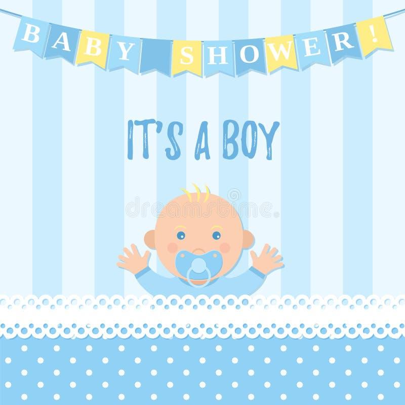 Κάρτα αγοριών ντους μωρών επίσης corel σύρετε το διάνυσμα απεικόνισης Μπλε έμβλημα με το παιδί διανυσματική απεικόνιση