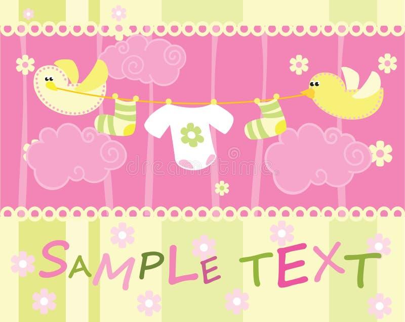 Κάρτα ανακοίνωσης άφιξης μωρών με τα πουλιά ελεύθερη απεικόνιση δικαιώματος