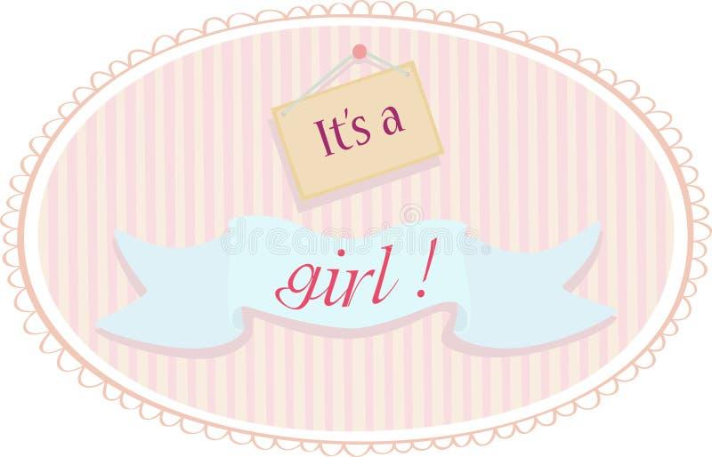 Κάρτα ανακοίνωσης κοριτσάκι απεικόνιση αποθεμάτων