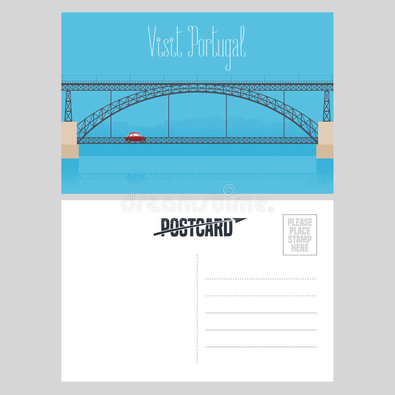 Κάρτα από την Πορτογαλία με τη γέφυρα του Πόρτο πέρα από τη διανυσματική απεικόνιση ποταμών Douro διανυσματική απεικόνιση