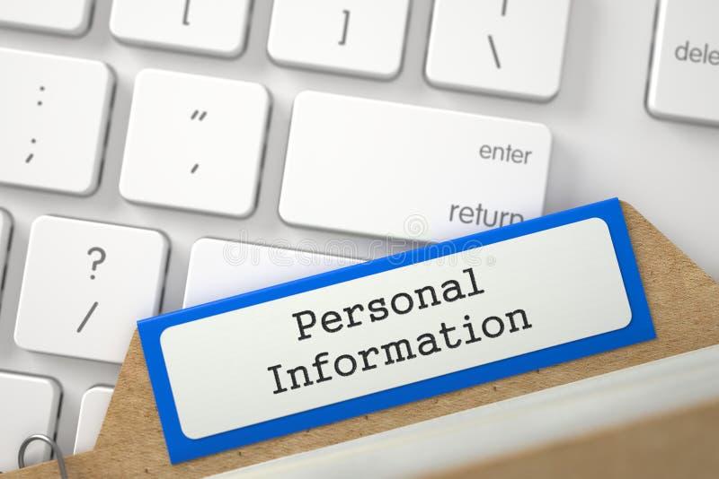 Κάρτα αρχείων με τη προσωπική πληροφορία επιγραφής τρισδιάστατος διανυσματική απεικόνιση