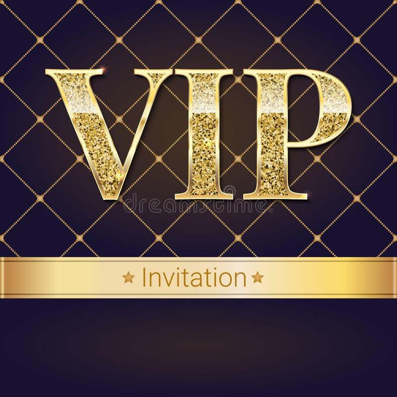 Κάρτα, αφίσα ή ιπτάμενο πρόσκλησης VIP ασφαλίστρου για το κόμμα Το χρυσό πρότυπο σχεδίου με την ακτινοβολία λάμπει κείμενο απεικόνιση αποθεμάτων